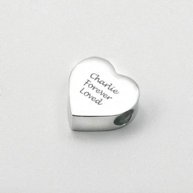 Engraved Memorial Charm Bead, Heart | Someone Remembered